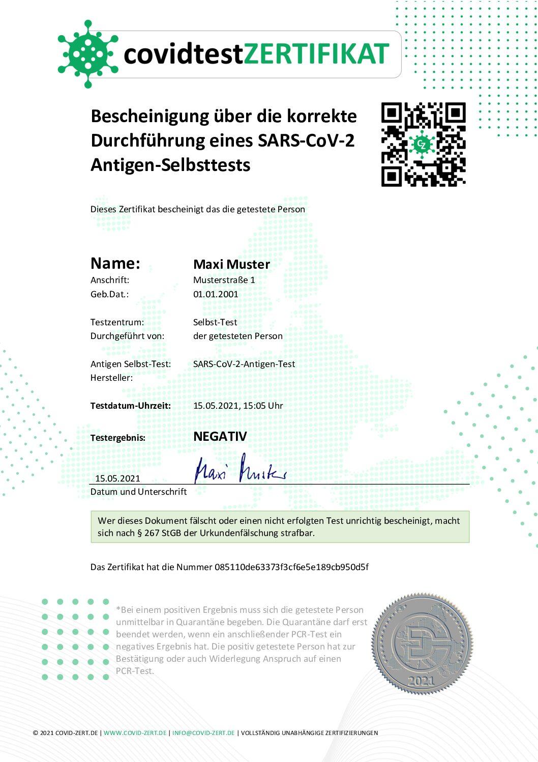 Unser Selbsttest Zertifikat covid19