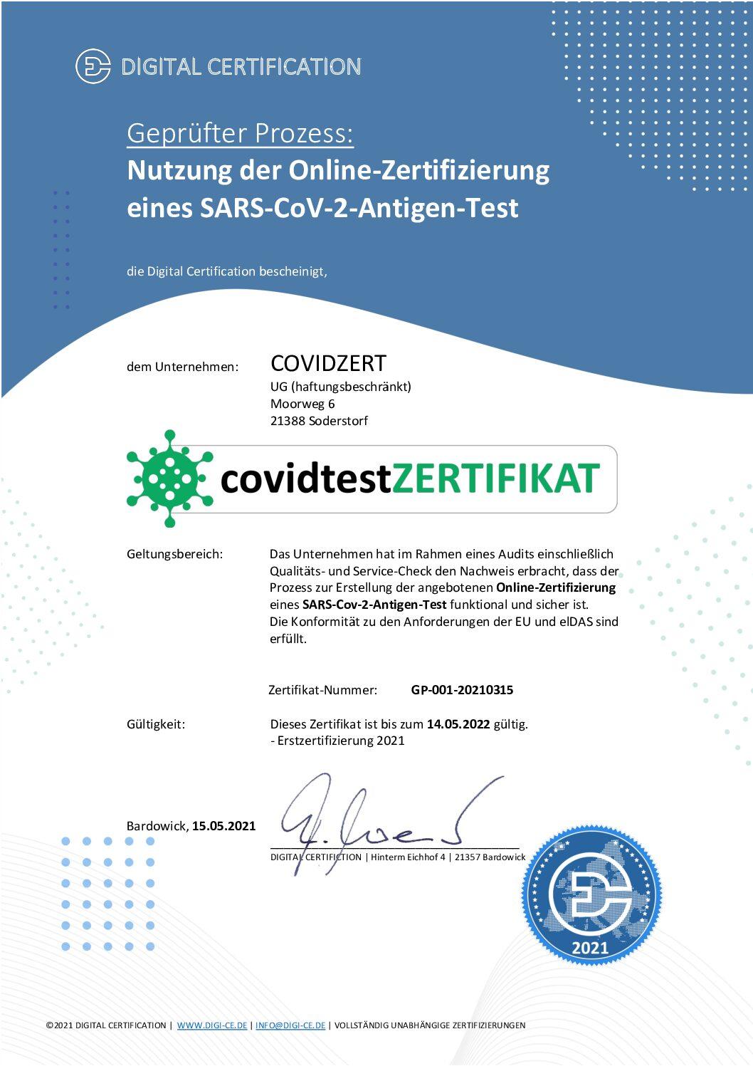 covidtestZertifikat ist anerkannt
